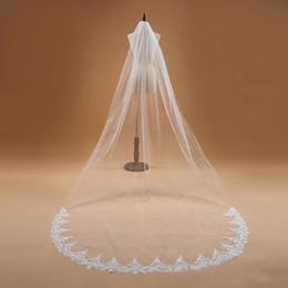 Wholesale Cheap Wedding Veils Lace Edge - 2017 Best Selling Cheap In Stock Long Chapel Length Bridal Veil Appliques 3 Meters Long Wedding Veil Veu De Noiva CPA910