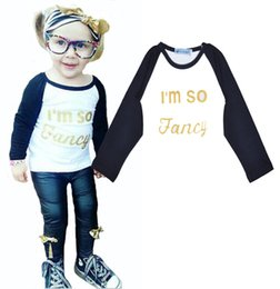 Wholesale Baby High Neck Tops - Retail Letter Pattern Kids T Shirt I'm So Fancy Long Sleeve Girls T-shirt Tops Baby Girl Clothes High Quality 2016 INS Children Clothing