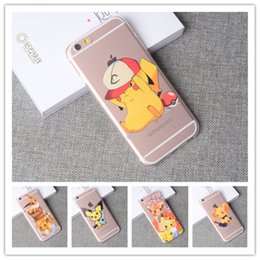 Wholesale Pokemon Iphone - Poke case transparent Poke mon go pikachu Printed Pattren cases TPU Crystal Clear pocket monster Cover For iphone 5 5s se 6s plus 7 plus