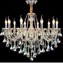 Wholesale Cognac Chandelier - Modern Crystal Chandelier Lighting Cognac Candle Pendant Lights Living room Restaurant Hotel Villa Hotel Ballroom Pendant Lamp Free shipping