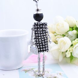 Wholesale Jewelry Black Dress Doll - Wholesale-2016 Fashion Long Girl Doll Pendant Necklace Charm Full Rhinestone Shiny Dress Doll Jewelry Necklace Women Pink blue Black White