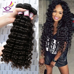Wholesale Dyeable Malaysian Hair Bundles - 50% Off Dyeable Peruvian Malaysian Mongolian Hair Products Brazilian Virgin Hair Deep Wave 3 or 4 Bundles per lot Human Hair Weave No Tangle