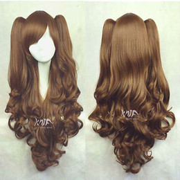 Wholesale Long Cosplay Wigs Free Shipping - Free shipping New High Quality Fashion Picture wig >>LOLITA Brown Long Wavy 2 Clip Ponytail Cosplay Party Wig Hair