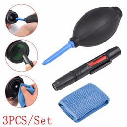 Wholesale Pen Wipe - 3 in 1 Camera Dust Cleaner Camera Cleaning Lens Pen Brush Lint-free Wipes Air Blower Kit