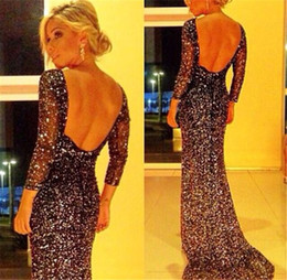 Wholesale Dots Maxi Dress - Long Evening Dresses Sexy Shining Backless Quality Silver Shining Long Prom Party Dresses Womens Long Sleeve Fashion Package Hip Dresses