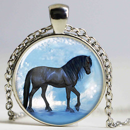 Wholesale Dream Pendant - lot Mustang necklace the horse walking the dream Art necklace glass Photo horse necklace