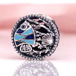 Wholesale Sterling Silver Diy Charm - Authentic 925 Sterling Silver Beads Ocean Life Charm Fits European Pandora Style DIY Jewelry Bracelets & Necklace 792075ENMX