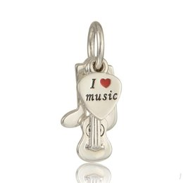 Wholesale Pandora Note - Free shipping music note charms beads S925 sterling silver fits for pandora bracelets free shipping LW567
