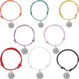 Wholesale christian jewelry charms - My Shape Wax Cord Bracelet Religious Cross God Jewelry Pendant Silver Charm Fashion Christian Bangle Wristbands