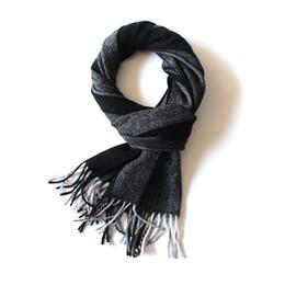 Wholesale Nice Friends - Men's autumn and winter warm stripe, wool tassel scarf, high-end gentleman handsome, high-end gifts, send love, relatives, friends, nice sha