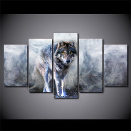 Wholesale Poster Panel - 5 Pcs Set Framed Printed Wolf Painting White Smoke Poster Modern Home Wall Decororation Print Painting Canvas Wall Picture