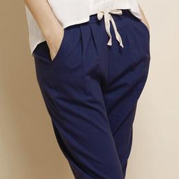 Wholesale Flax Pants Xl - Wholesale-2016 Summer Women All-Match Flax Linen Pants Casual Style Elastic Waist Harem Commuter Pant Woman Pantalon Femme Plus Size