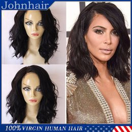 Wholesale Brown Virgin Peruvian Natural Wave - Hot Sale Human Hair Lace Front Wigs Black Women   Peruvian Full Lace Wig Natural Wave Unprocessed Virgin Short Wigs With Baby Hair 8A