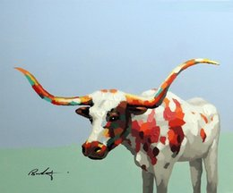 Pintura de lienzo de cuernos largos online-Enmarcado Texas Longhorn Bull Cow Retrato de arte moderno, pintado a mano Modern Animal Animal Wall Art pintura al óleo sobre lienzo múltiples tamaños Jn093