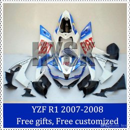 Wholesale Customize Yzf R1 - Fairing kits for Yamaha 2007 2008 YZF R1 Motorcycle Faring Set FIAT 2007-2008 YZF-R1 Racing Fairing Kit WITH free gift customized decal