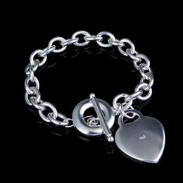 Wholesale Wholesale Thick Silver Chains - New Love Heart Bracelets for Women Wedding Thick 925 Silver Plated Charm Bangle Femme Pulseiras Indian One Direction Jewelry