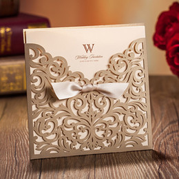 Wholesale Lace Vintage Invitations - Wholesale- (50 pieces lot)Lace Bowknot Wedding Invitation Cards Vintage Laser Hollow Out Flowers Wedding Card with Envelope