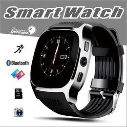 Wholesale Camera Watches For Men - For Android New T8 Bluetooth Smart Pedometer Watches Support SIM &TF Card With Camera Sync Call Message Men Women Smartwatch Watch