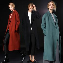 Wholesale Double Breasted Winter Coat Women - fashion elegant women wool coats 2018 long black caramel mint winter coats winter outerwear cashmere coats