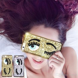 Wholesale Iphone Blink - New Arrival 2015 3D Fashion Chiara Ferragni Sequins Big Blinking Eyes Case for iPhone 6 6s Plus Bling Phone Case Cover 00652