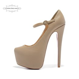 Wholesale Mary Fashion - Size 35-41 Women's 16cm High Heels Beige Genuine Leather Fashion New Red Bottom Mary Janes Pumps, Ladies Luxury Brand Platform Wedding Shoes