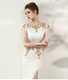 Wholesale Cover Photo New Flower - 2017 New Arrival Sexy Mermaid Prom Dresses Sweetheart White Long Gold Lace Beaded Side Slit Prom Party Dress Cape Sleeves Vestido De Festa