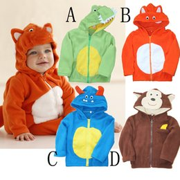 Wholesale Childrens Sweater Jackets - Autumn Winter Coral Fleece Hoodie Coats Kids Baby Boys Cartoon Animal Fleece Outfits Childrens Cardigan Sweaters Jackets