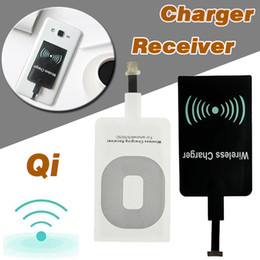 Wholesale Qi Wireless Receiver Iphone - Qi Wireless Power Charger Receiver Module Sticker High Speed Charging Adapter For iPhone 7 Plus 6 6S SE 5S 5 Samsung Note 8 S8 S7 S6 Edge
