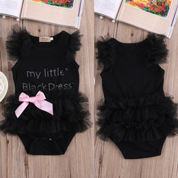 Wholesale Cute Christmas Girl Outfits - cute Baby Girls bodysuits my Little Black Dress letter printed rompers Lace Sleeveless cotton o-neck Outfits with bownot set free shipping