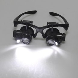 Wholesale Magnify Glass Led Light - On Sale Magnifying Resin Lupa 10X 15X 20X 25X Eye Jewelry Watch Repair Magnifier Glasses With 2 LED Lights New Loupe Microscope