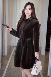 Wholesale Womens Coats Sheep Fur - Womens fur clothing Genuine Merino Sheep Fur Coat Long High quality Shearling fur overcoat Jacket