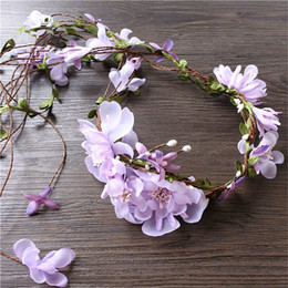Wholesale Ivory Hair Flower Feather - Vintage Wedding Bridal Flower Headpiece Boho Floral Crown Tiara Hair Garland Princess Hairband Ivory Pink Purple Rose Band Headdress Jewelry