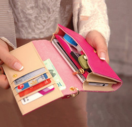 Wholesale Large Coin Purse Bag - women leather wallet for iPhone case ladies wallet phone cover Korean multifunction card purse Organizer large capacity hand bags Z&M0876