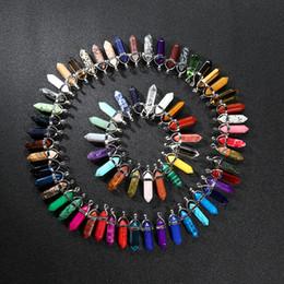 Pietre a forma di cuore gioielli online-Collane con pendente in pietra naturale multicolore Proiettile prisma esagonale Croce a forma di cuore Gioielli in cristallo