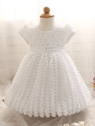 Wholesale Toddler Summer White Dress - Toddler girl white color wedding dress short sleeve baby girl's tutu skirts with resin stone children princess party birthday prom dress
