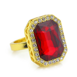 Wholesale Diamond Red Ruby Ring - 14K Gold Plated HipHop Ring Iced Out Diamond Ruby Men Rhinestone Studded Faux Red Tone Square Ring