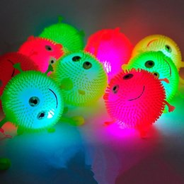 Wholesale Smiling Ball - 25pcs lot mix color flash Led bouncy balls glowing smile soft rubber ball toy luminous for party supplies jump fluffy ball toys