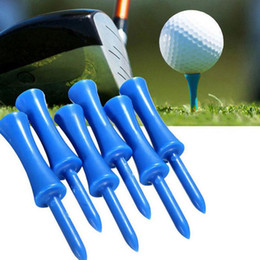 Wholesale Blue Golf Tees - 50pcs bag Good Quality Blue Golf Tee 68mm Plastic Step Down Castle Height Control Golf Tees Golf Playing Sports Supplies