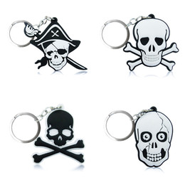 Wholesale pirated movies - 10pcs Pirates Skull High Quality Bright Color Cartoon PVC Keychain Key Ring Bag Fashion Accessories Packed in Gift Bag Kawaii Party Favors