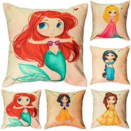 Wholesale Princess Car Seat Covers - Mermaid Chair Seat Cushion Covers 5 Style Cartoon Princess Girls Pillow Case Sofa Car Pillowcase