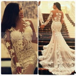 Wholesale transparent laced wedding dresses - 2018 Arabic Mermaid Lace Wedding Dresses with Long Transparent Sleeves Crew Neck Applique Vintage Informal Wedding Party Dress