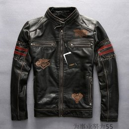 Wholesale Avirex Leather Jacket Xl Men - Black AVIREX FLY genuine leather jackets stand collar American customs since 1973 motorcycle jackets
