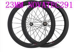 Wholesale Tubular Road Wheels - carbon road wheels 60mm novatec 291 width 23MM clincher 700C carbon wheels Bicycle wheel carbon wheels