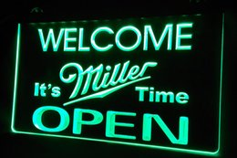 Wholesale Christmas Time Lights - LS434-g Welcome It's Miller Time Beer OPEN Neon Light Sign
