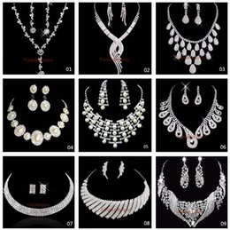 Wholesale Silver Necklace Bridesmaid - Hot Sale 9 Style Shining Rhinestones Crystals Wedding Party Bridal Bridesmaid Necklace and Earrings Jewelry Set Free Shipping In Stock