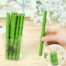 Wholesale Bamboo Gel - Free Shipping 20pcs Lovely Lifelike Bamboo Shaped Ball Point Writing Pens Gel Pens School Office Supplies Papelaria