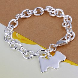 Wholesale Silver 925 Rough - wedding Dog brand rough 925 silver charm bracelet 8inchs DFMWB271,women's sterling silver plated jewelry bracelet