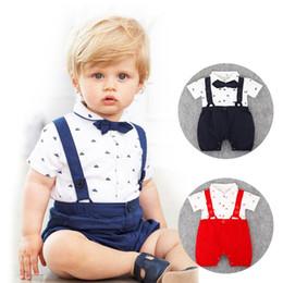 Wholesale Baby Summer Hats Strap - RMY30 NEW 2 Design infant Kids Gentelmen style Cotton Cool short sleeve Straps Romper baby Climb clothing boy girl Romper +hat free ship