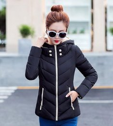 Wholesale Collar Stand Design - New Wadded Winter Jacket Women Cotton Short Jacket Fashion 2016 Girls Padded Slim Plus Size Hooded Parkas Stand Collar Coat
