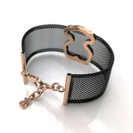 Wholesale black titanium jewelry - Jewelry New Fashion Luxury Women Stainless Steel Black and Silver hollow titanium mesh net wide band Bracelet mujer oso
